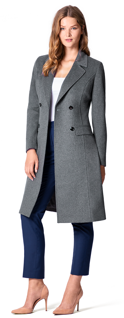 women's grey wool custom coat