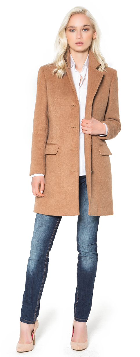 woman camel wool coat