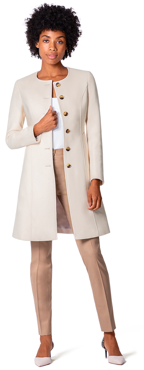 white wool collarless coat