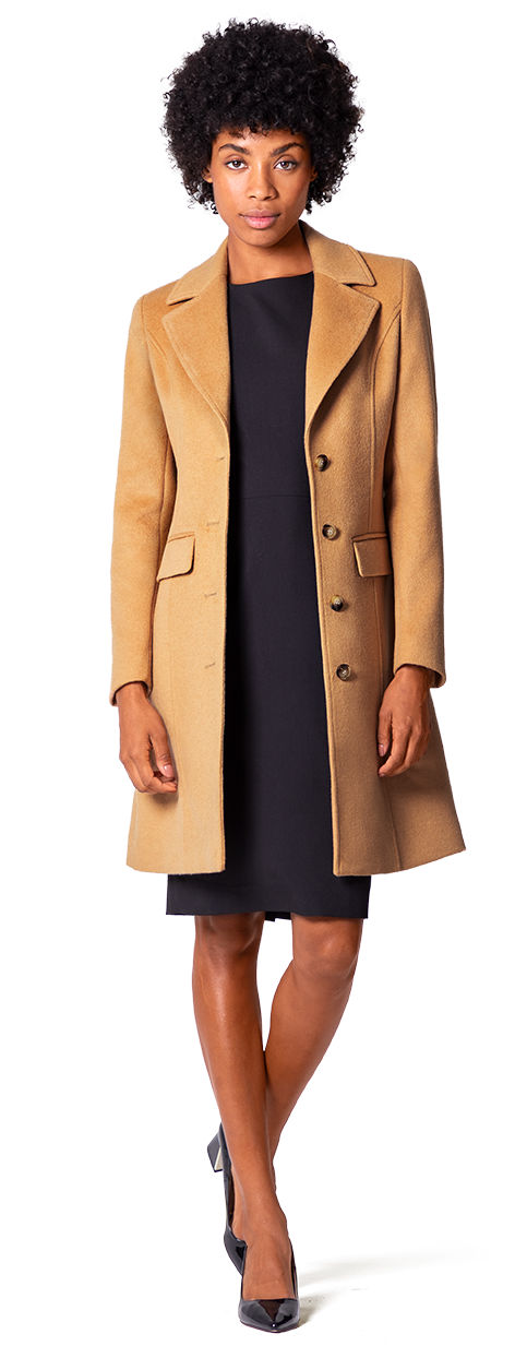 camel single breasted woman coat