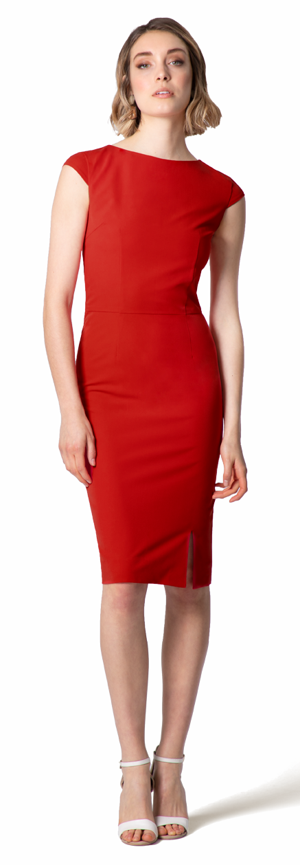 red custom sheath dress