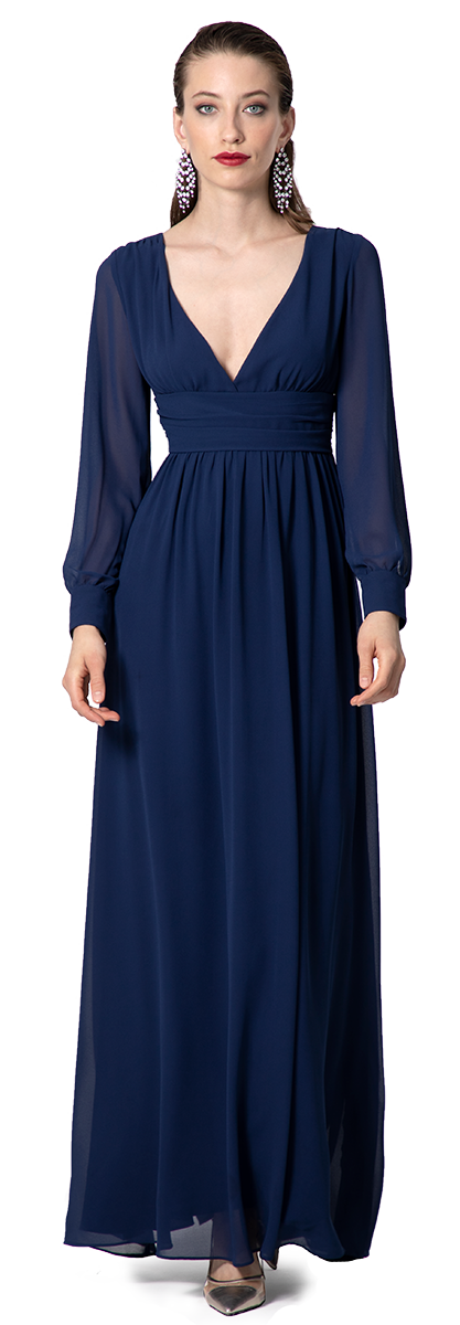 maxi evening dress long sleeves