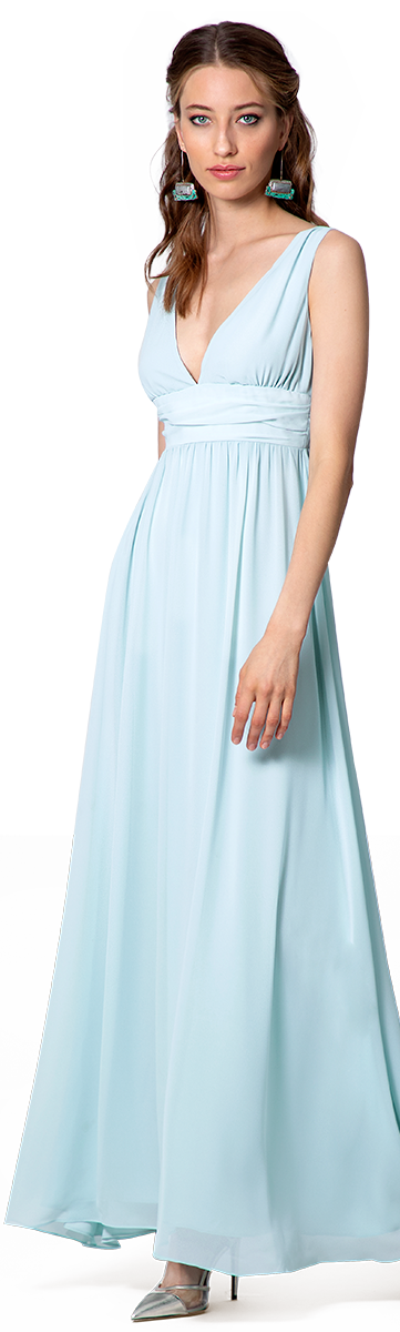 long empire dress in blue