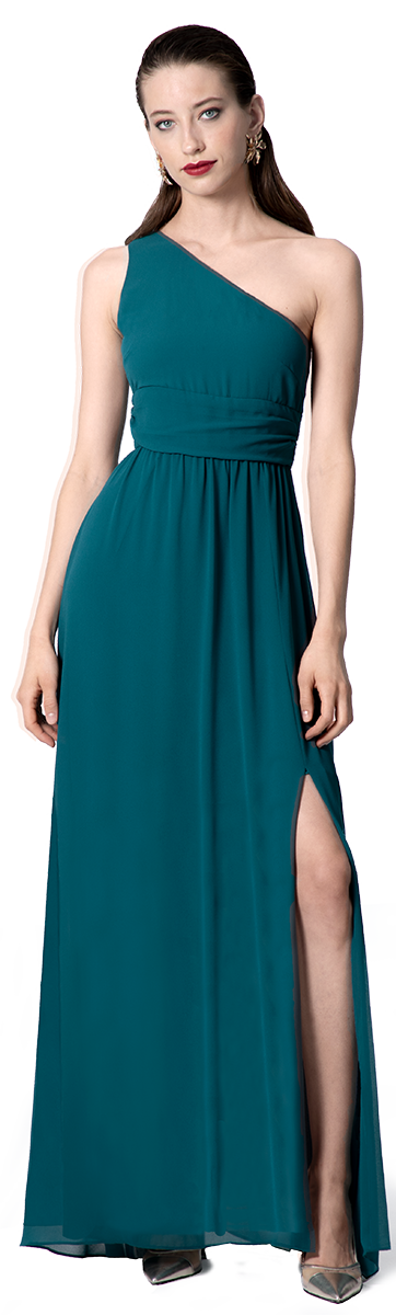 one-shoulder maxi gown in green