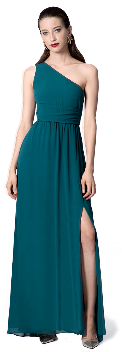 Langes Blaues One-Shoulder Abendkleid