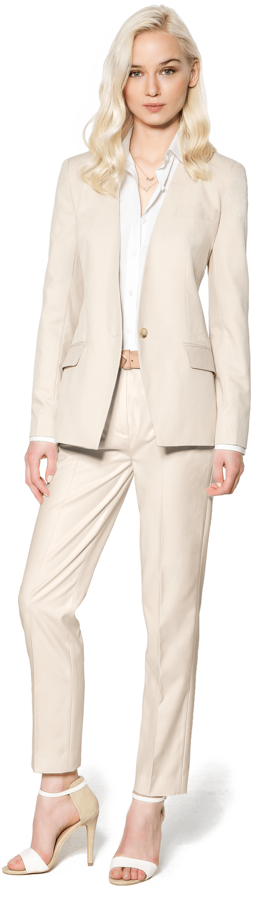 beige pant suit for women