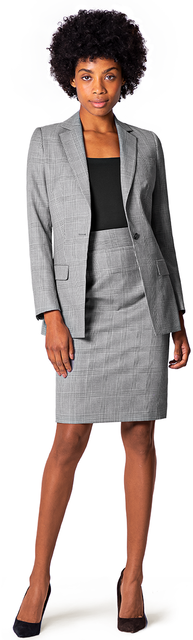 grey skirt suit for woman