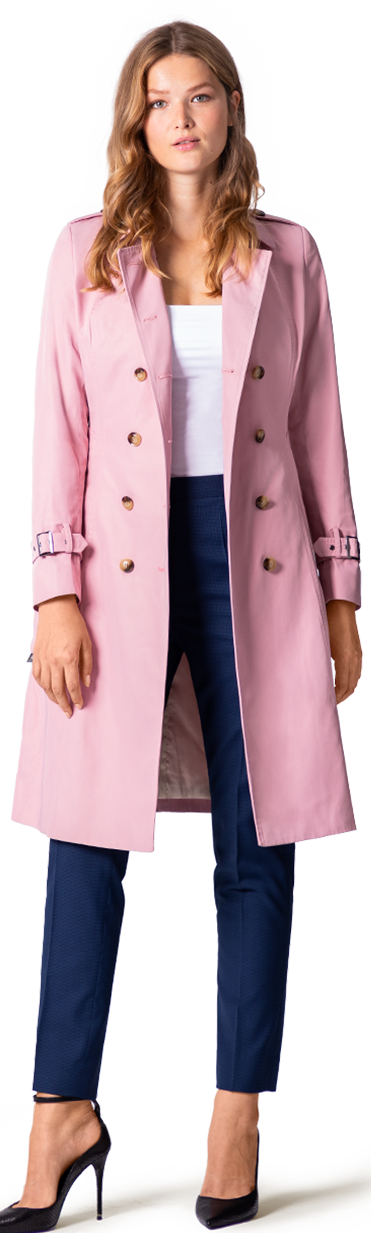 women's pink trench coat