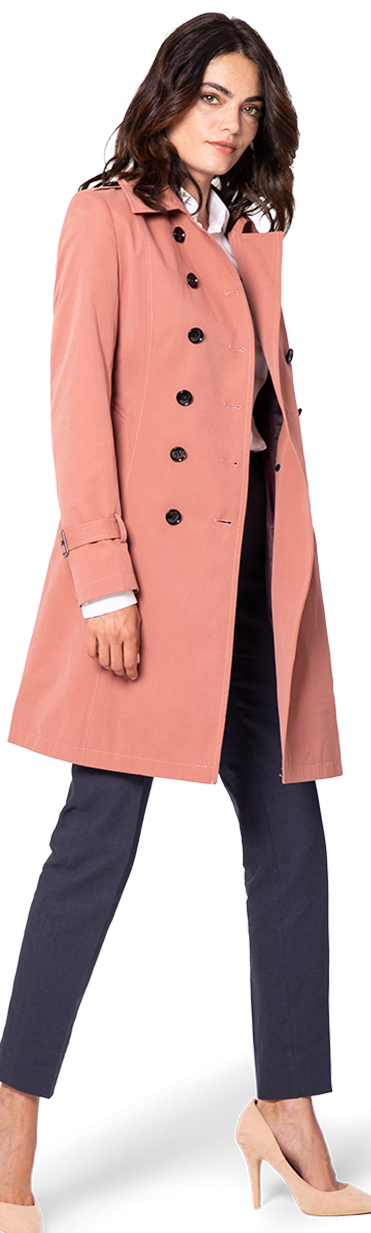 coral trench coat for woman