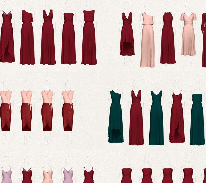 8 Ideas for Mix & Match Burgundy Bridesmaid Dresses