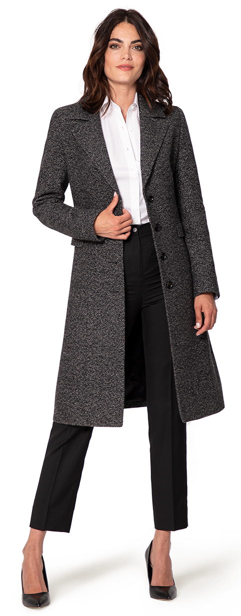 grey women's single breasted wool coat