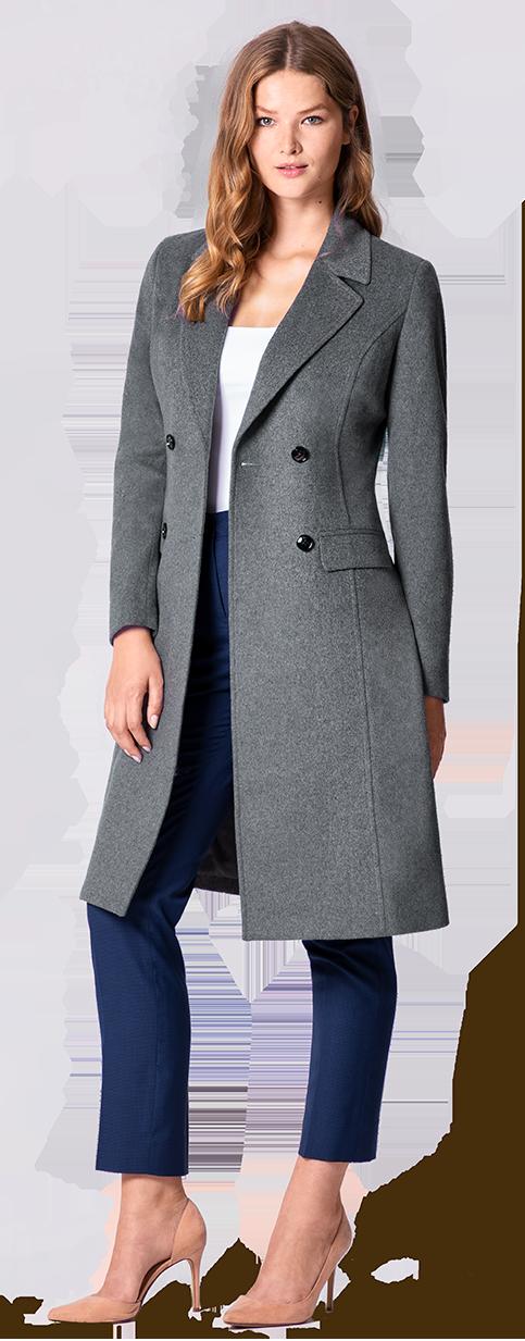 women's grey wool custom coat