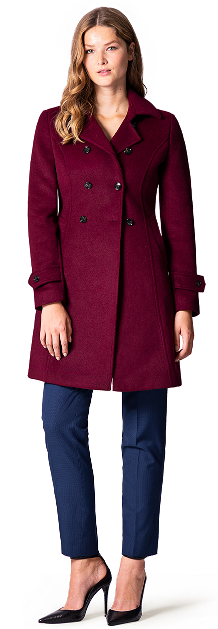 woman red peacoat
