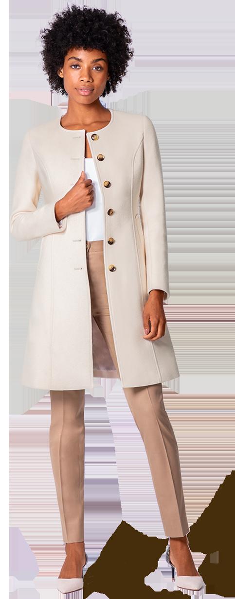 white wool collarless coat