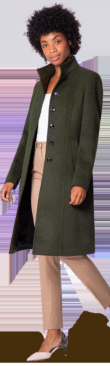 meilleure qualité pour réel classé chaussures pour pas cher Manteau Col Officier Femme, Manteau col montant femme (taillé sur-mesure)