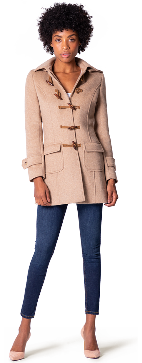 Beige duffle coat for woman