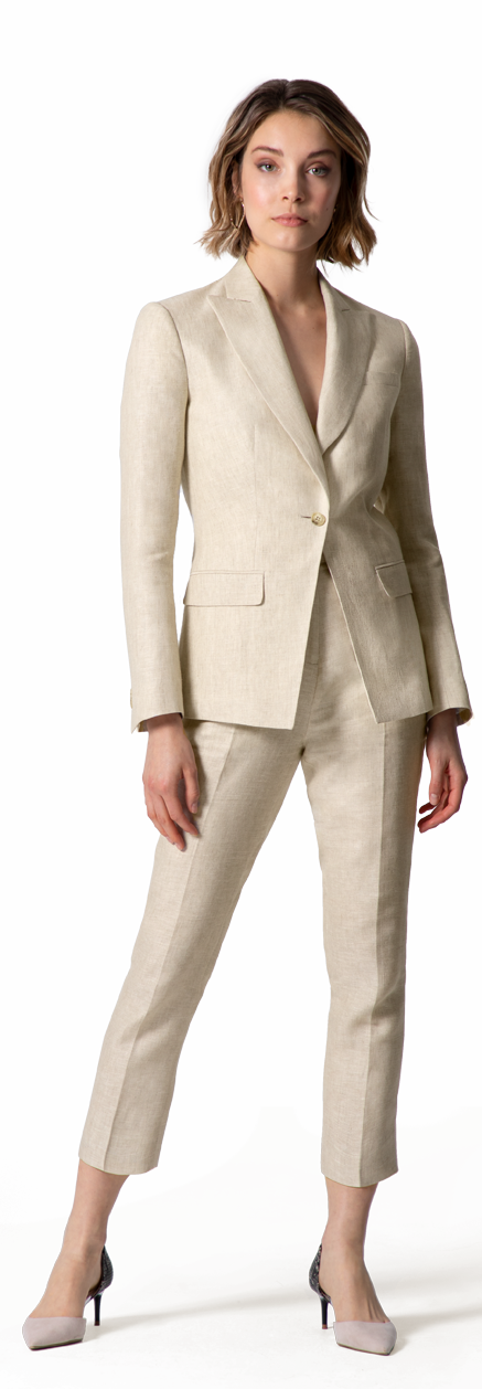 beige linen suit for woman