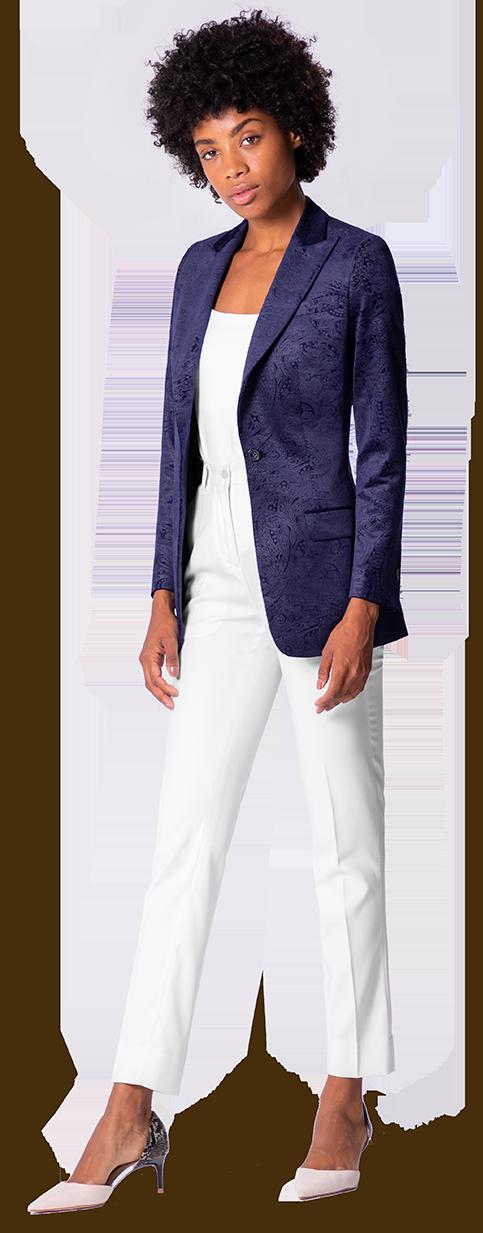 blue women's velvet suit