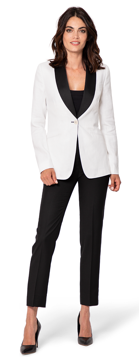 woman white tux with black lapel