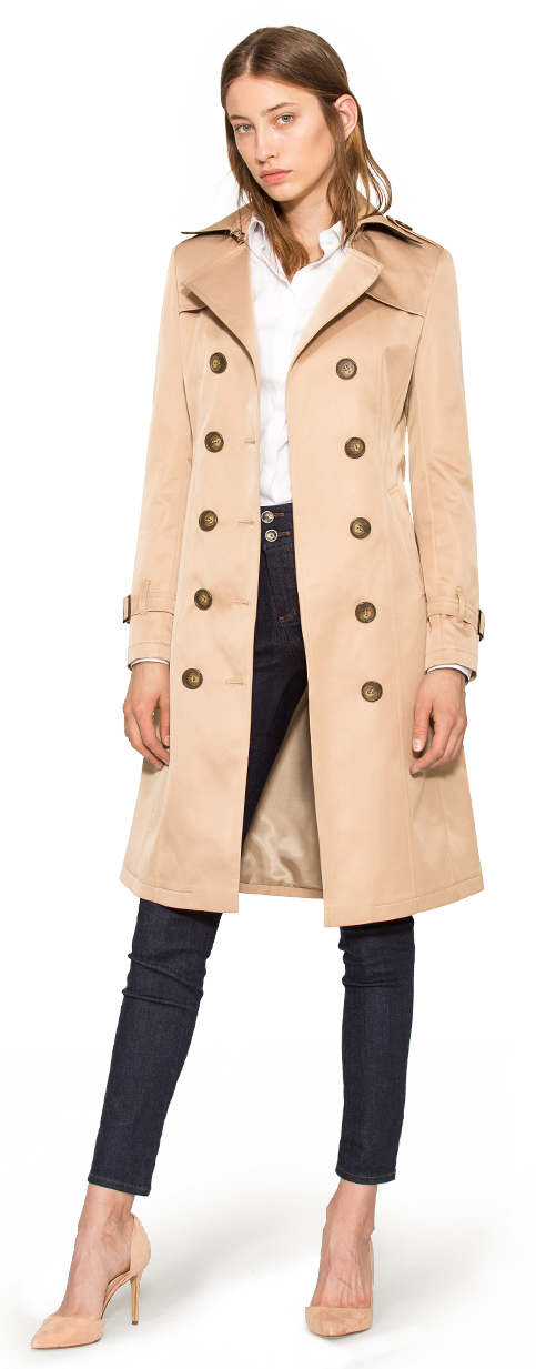 beige custom trench