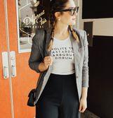 A grey blazer always fits.